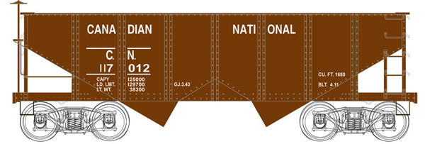 Bowser Trains HO PRR Class GLa 2-Bay Open Hopper - Ready to Run - Executive Line -- Canadian National #117022 (Boxcar Red)