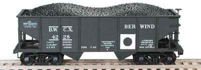 Bowser Trains N PRR Class GLa 2-Bay Open Hopper - Ready to Run -- Berwind Coal Co. BWCX #4227 (black, white, black Dot)