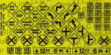 Blair Line HO Highway Signs - Warning #3 1948-Present (black, yellow)