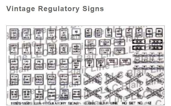 Blair Line N Highway Signs - Vintage Regulatory 1930s-1950s (Black, White)