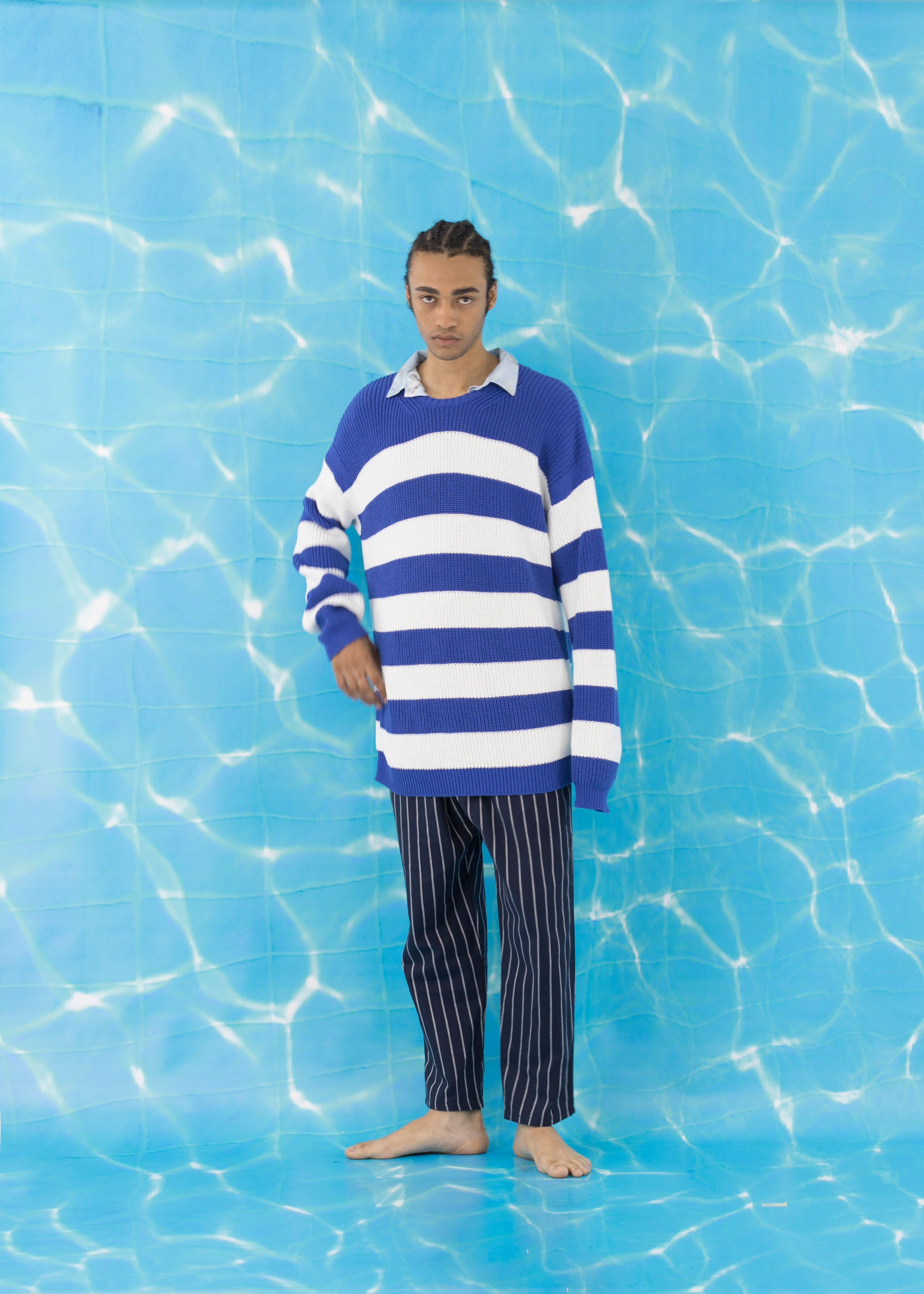 Sweater Striped Blue White