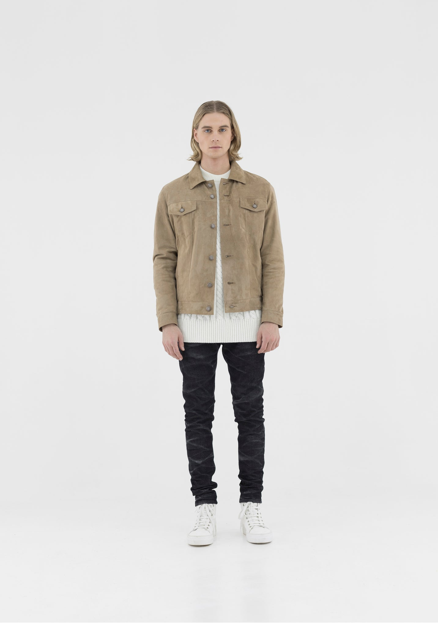 Jacket Leather Suede Sand