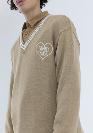Sweater V-Neck Camel Brown