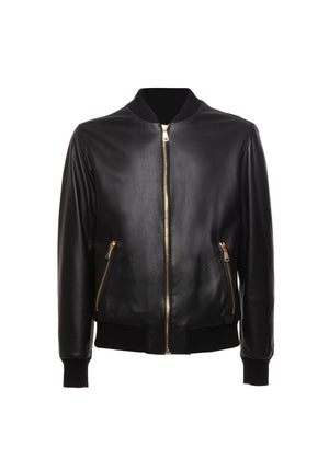Bomber Leather Jacket Black
