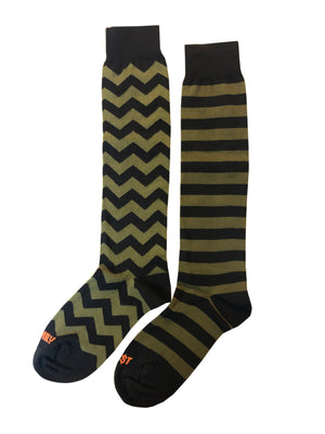 Striped Long Socks Black Green