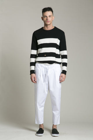 Pants Cotton White FF Side Strip