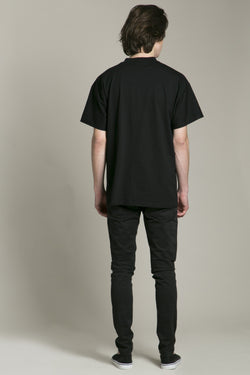 Short Sleeve T-Shirt Black Embroidery Neck