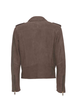 Biker Leather Suede Taupe