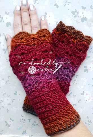 Fantail Shell Stitch Fingerless Gloves