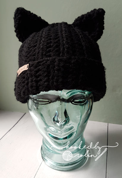 Crochet Kitty Ear Beanie - BLACK OR DARK GREY