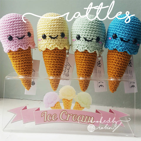 Ice Cream Rattle MADE TO ORDER