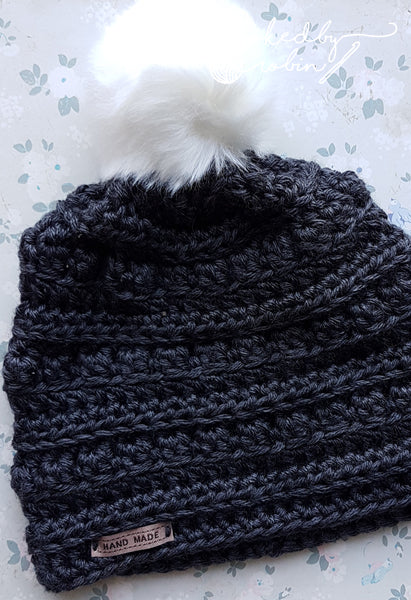Slouch fit pom pom beanie - VARIOUS COLOURS