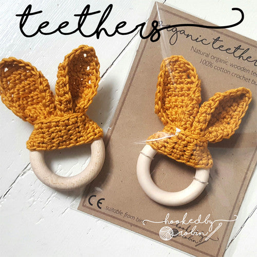 Bunny Ear Teething Ring MADE TO ORDER
