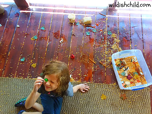 wildish child pumpkins and play time messy porch after sensory bin play