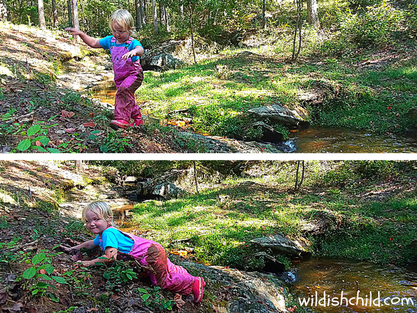 wildish child pumpkins and play time girl climbing creek bank falling muddy