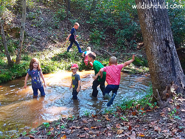 wildish child pumpkins and play time boy jumping into creek