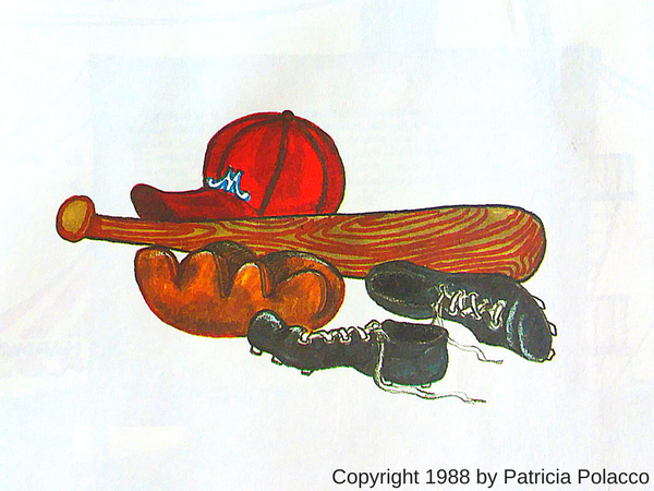 wildish child favorite book friday casey at the bat illustrated by patricia polacco hat glove shoes bat
