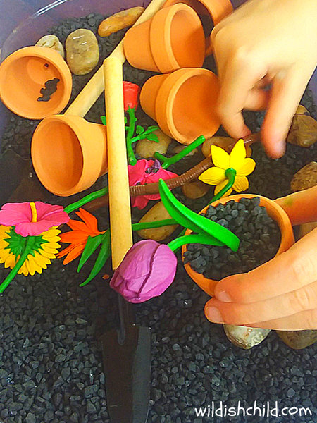 wildish child flower sensory bin up close