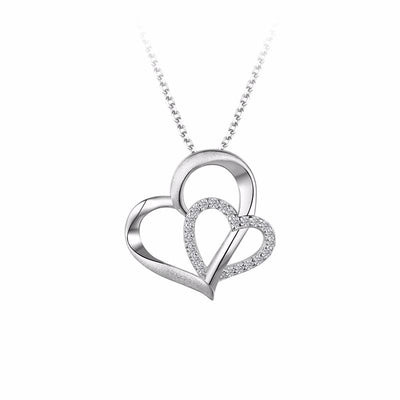 Twin Heart Sterling Silver Pendant Necklace