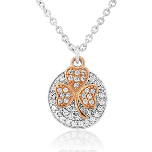 Sterling Silver and Rose Gold Plated Shamrock Necklace 1