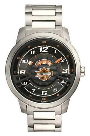 Harley-Davidsonå¨ Mens Bar & Shield Black Multi-Layer Stainless Steel Watch (76A162) - Design by Jesse