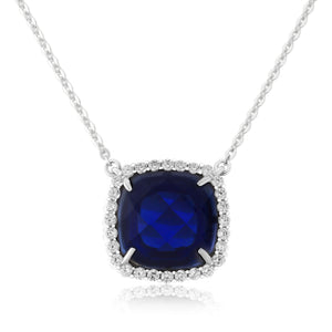 WP131 Waterford Sapphire Cushion Pendant