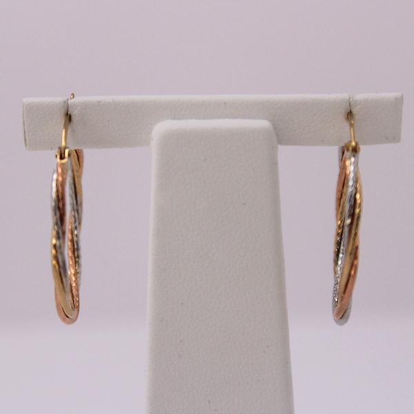 10kt Gold Tri-tone Diamond Cut Hoops 1