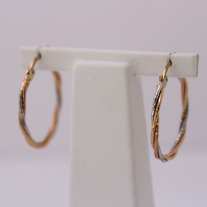 10kt Gold Tri-tone Diamond Cut Hoops 2