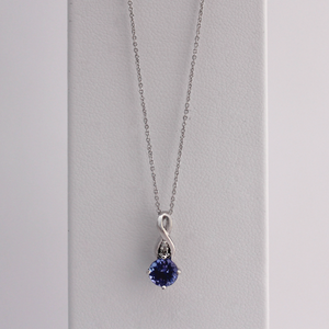 14kt White Gold Teardrop Tanzanite Pendant 2