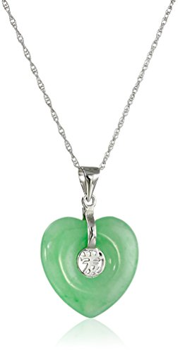 "Jade Heart with Asian Script ""Love"" Center Pendant Rhodium-Plated Sterling Silver"