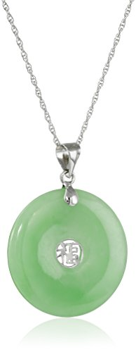 Sterling Silver Jade Donut with Asian Script Center Pendant Necklace Rhodium-Plated