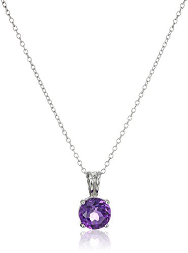 Sterling Silver Genuine African Amethyst 8mm Round February Birthstone Pendant Necklace, 18""
