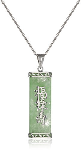"Sterling Silver  Jade ""Good Fortune, Prosperity, and Longevity"" Pendant Rhodium-Plated"
