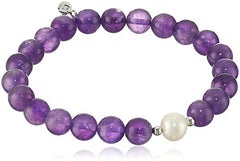 Genuine Gemstone African Amethyst 8 mm Stretch Bead with Pearl Accent Bracelet, 6.5""
