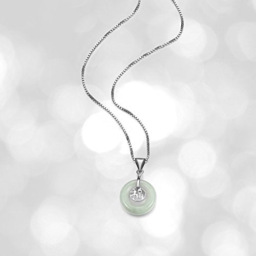 Sterling Silver Genuine Green Jade Good Fortune Pendant Necklace, 18""