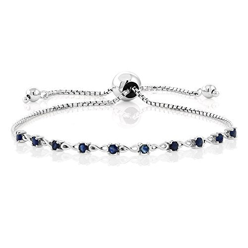 Genuine Blue Sapphire Gemstone 925 Sterling Silver Fully Adjustable Tennis Infinity Bracelet