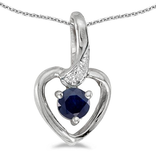 "0.22 Carat (ctw) 14k White Gold Round Blue Sapphire and Diamond Women's Heart-shaped Pendant with 18"" Chain Necklace (4 MM)"