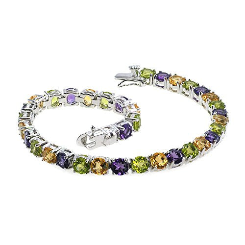 Genuine Citrine, Peridot, Amethyst and Natural Multi-colored Gemstones 925 Silver Bracelet