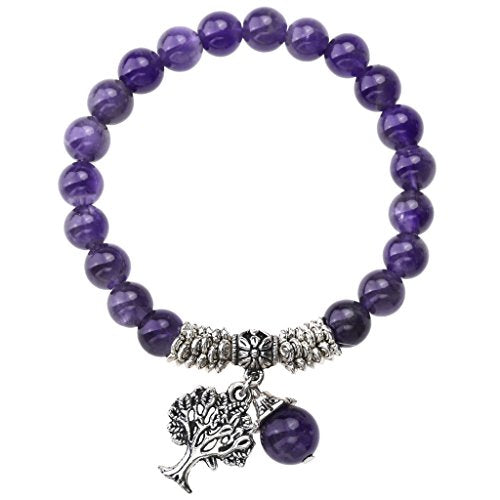 Purple Amethyst Natural Gemstone Healing Point Tree of Life Lucky Charm Stretch Bracelet