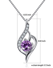 Angel Wing Necklace Sterling Silver Necklace CZ Cubic Zirconia Simulated Amethyst