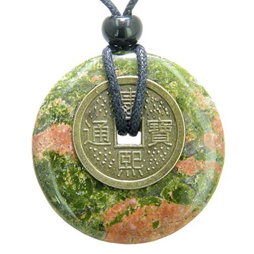Antique Lucky Coin Spiritual Powers Amulet Unakite Gemstone 40mm Donut Pendant Necklace