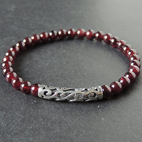 Natural Garnet Healing Gemstone Beads and Genuine 925 Sterling Silver Bracelet