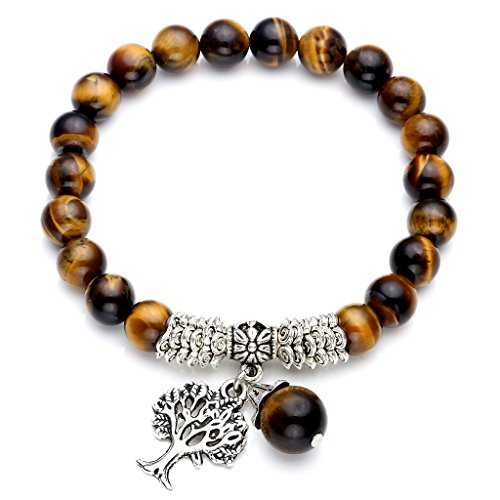 "Top Plaza Stretch Tiger Eye Stone Tree of Life Lucky Stone Bracelet Reiki Healing Crystal Gemstone Dangle Charms Pendant Birthstone Bracelet(6.2"")"