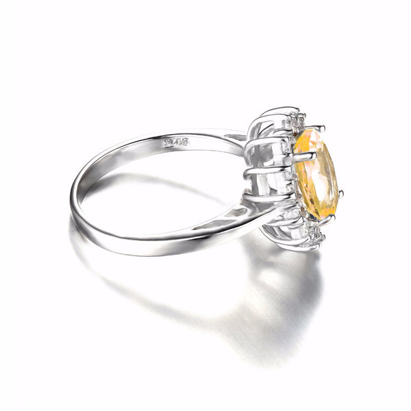 Citrine  Halo Ring Sterling Silver