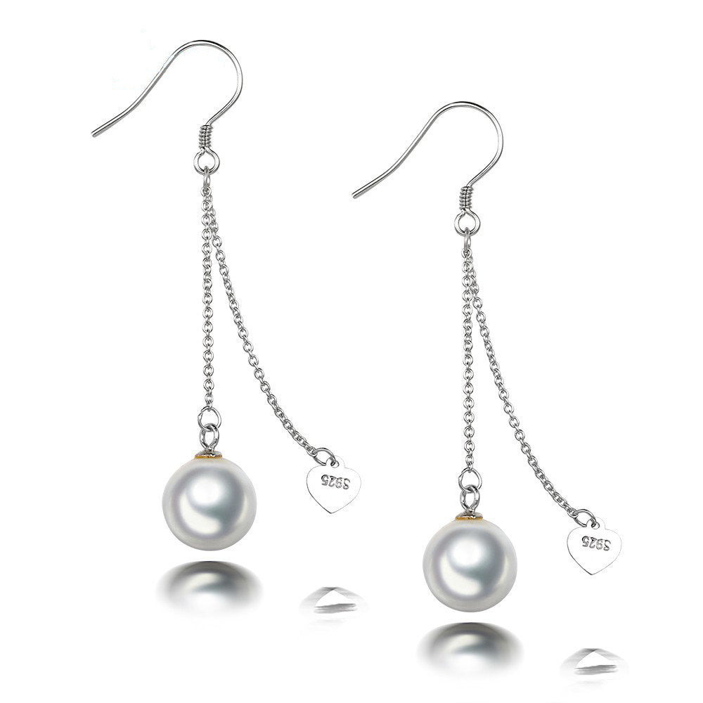 Silver Round Seashell Pearl  Drop Earring