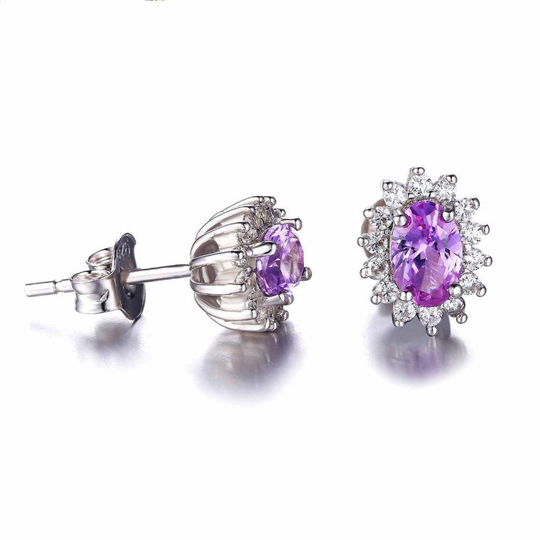 Sapphire Stud Earrings 925 Sterling Silver