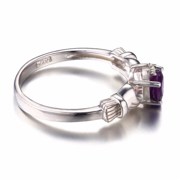 Amethyst Ring Sterling Silver Heart Irish Claddagh