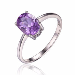 Purple Amethyst Solitaire Ring Solid Sterling Silver
