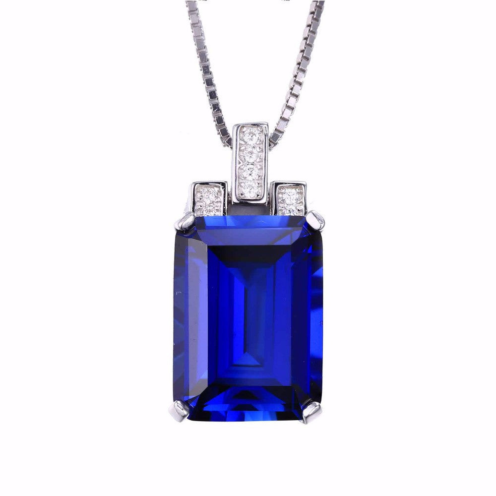 Blue Sapphire Pendant Genuine 925 Sterling Silver