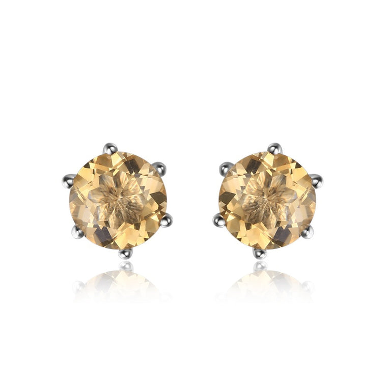 Natural Citrine Earrings Stud Sterling Silver